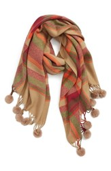 Sole Society Plaid Scarf With Pompom Fringe Camel Combo