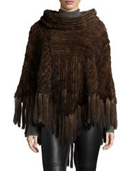 Belle Fare Mink Fur Cowl Neck Fringe Poncho Brown
