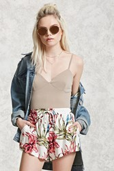 Forever 21 Floral Woven Drawstring Shorts Cream Coral