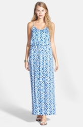Lush Aztec Print Maxi Dress Juniors Blue Boho Print