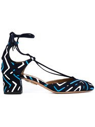 Aquazzura Tribal Print Sandals Women Leather Suede 38.5 Blue