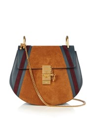 Chloe Drew Small Suede And Leather Cross Body Bag Blue Multi