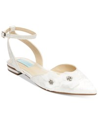 Blue By Betsey Johnson Willa Ankle Strap Evening Flats Women's Shoes Ivory