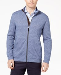 Tasso Elba Men's Knit Jacket Created For Macy's Navy Blue Combo