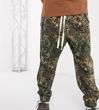 Reclaimed Vintage Drop Crotch Cargo With Drawstring In Camo Multi