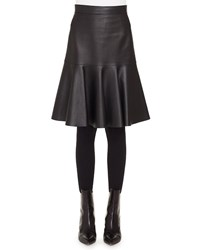 Akris Punto Ruffled Hem Back Zip Knee Length Leather Skirt Black