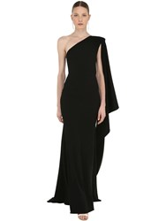 Alex Perry One Shoulder Long Crepe Dress Black