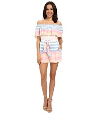 Mara Hoffman Crinkle Crepe Off The Shoulder Romper Field Stripe Women's Jumpsuit And Rompers One Piece White