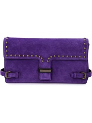 Tomas Maier Studded Buckled Clutch Pink And Purple
