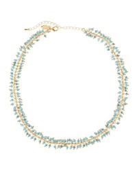 Emily And Ashley Round Crystal Beaded Strand Necklace Blue
