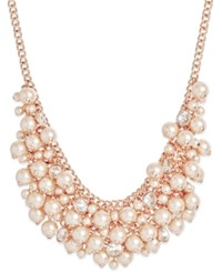 Charter Club Rose Gold Tone Imitation Pearl Bib Necklace Only At Macy's