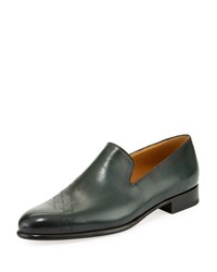 Berluti Cambridge Scritto Leather Slip On Dress Shoes Green