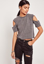 Missguided Grey Open Sleeve Cropped T Shirt
