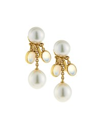 Assael 18K White South Sea Pearl And Moonstone Dangle Earrings Women's