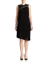 Dsquared Fringe And Zipper Detail Dress Black