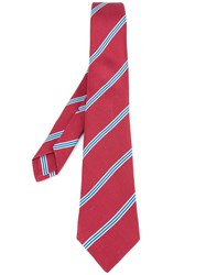 Kiton Striped Tie Red
