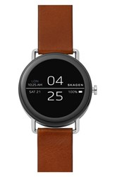 Skagen 'S Falster Touchscreen Leather Strap Smart Watch 42Mm Brown Silver