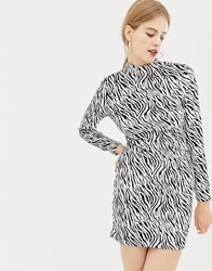 Parisian High Neck Velvet Dress In Zebra Print Black White