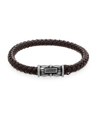 Steve Madden Stainless Steel And Leather Braided Bracelet Burnished Silver