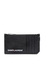 Saint Laurent Logo Printed Zip Leather Wallet