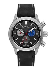 Brera Orologi Eterno Chrono Stainless Steel And Leather Chronograph Strap Watch Black Black Silver