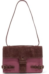 Tomas Maier Leather And Suede Shoulder Bag Plum