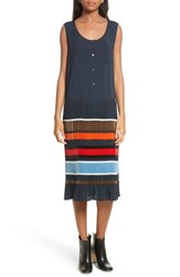 Public School Women's Jama Pleated Stripe Dress Navy Multi