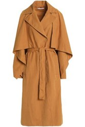 Rosetta Getty Cape Effect Belted Woven Trench Coat Camel