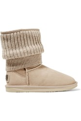 Australia Luxe Collective Fame Ribbed Knit And Shearling Boots Nude
