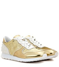 Tod's Sportivo Sequin Embellished Leather Sneakers Gold