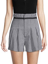 Kendall Kylie Belted Gingham Shorts Black White