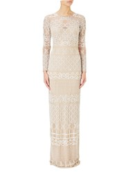 Adrianna Papell Illusion Long Sleeve Beaded Gown Ivory Nude