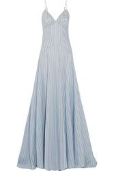Rosie Assoulin Negligee Striped Cotton And Silk Blend Gown Light Blue
