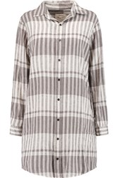 Current Elliott The Prep School Linen And Cotton Blend Shirt Dress Gray