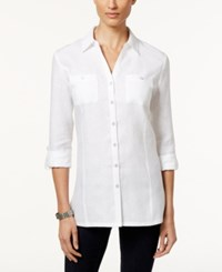 Jm Collection Linen Button Front Tunic Shirt Only At Macy's Bright White