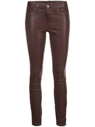 J Brand Skinny Leather Trousers Red