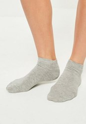 Missguided Grey Basic 3 Pack Trainer Socks