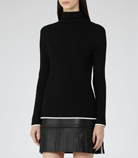 Reiss Olins Womens Ribbed Roll Neck Jumper In Black