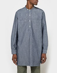 Engineered Garments Banded Collar Long Shirt Blue