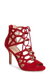 Pelle Moda Women's 'Eva' Ghillie Lace Sandal Lipstick Red Leather