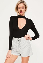Missguided Grey Faux Suede Lace Up High Waisted Shorts