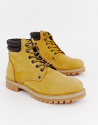 Jack And Jones Lace Up Nubuck Boots Brown