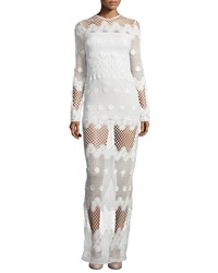 Alexis Axelle Long Sleeve Netted Maxi Dress White Women's