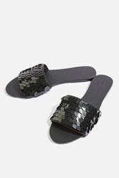 Topshop Harkle Sequin Sliders Black
