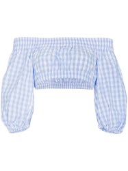 Adam Selman Gingham Bardot Cotton Cropped Top Blue