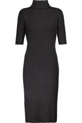 Magaschoni Ribbed Cashmere And Silk Blend Turtleneck Dress Charcoal