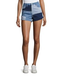 Minkpink Mid Rise Soul Patch Denim Shorts Blue