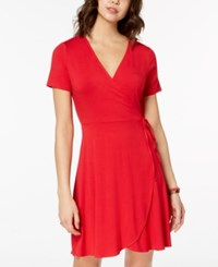 One Clothing Juniors' Side Tie Wrap Dress Red
