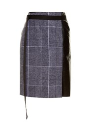 Calvin Klein Leather Panel Checked Wool Skirt Grey Multi