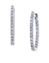Effy Pave Classica Diamond And 14K White Gold Hoop Earrings 0.56 Tcw Diamond White Gold